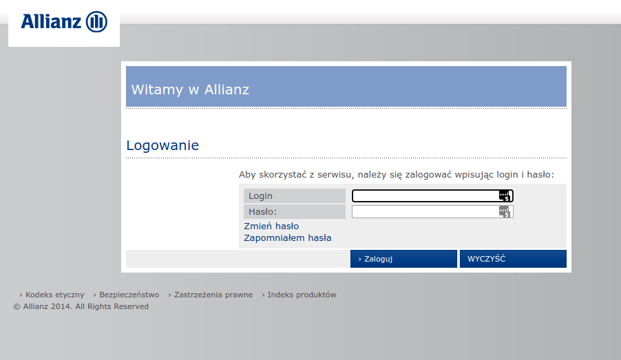ekran czak allianz logowanie